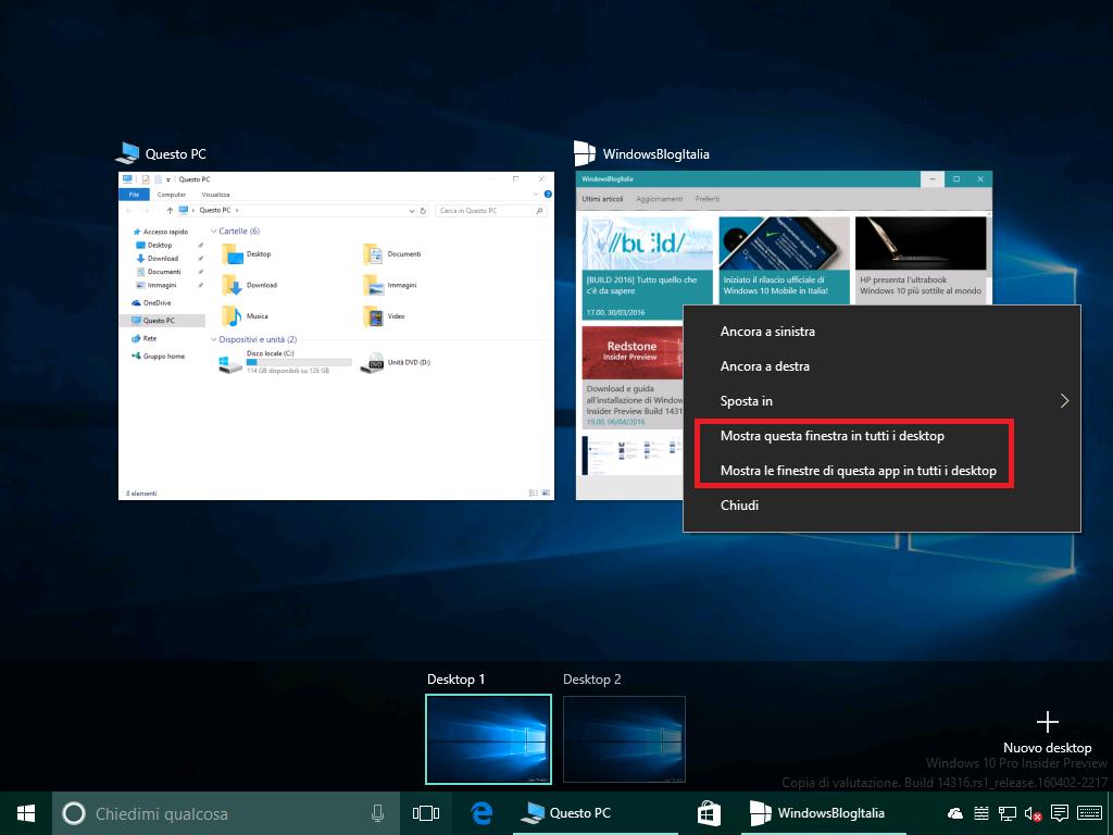 Miglioramenti desktop virtuale
