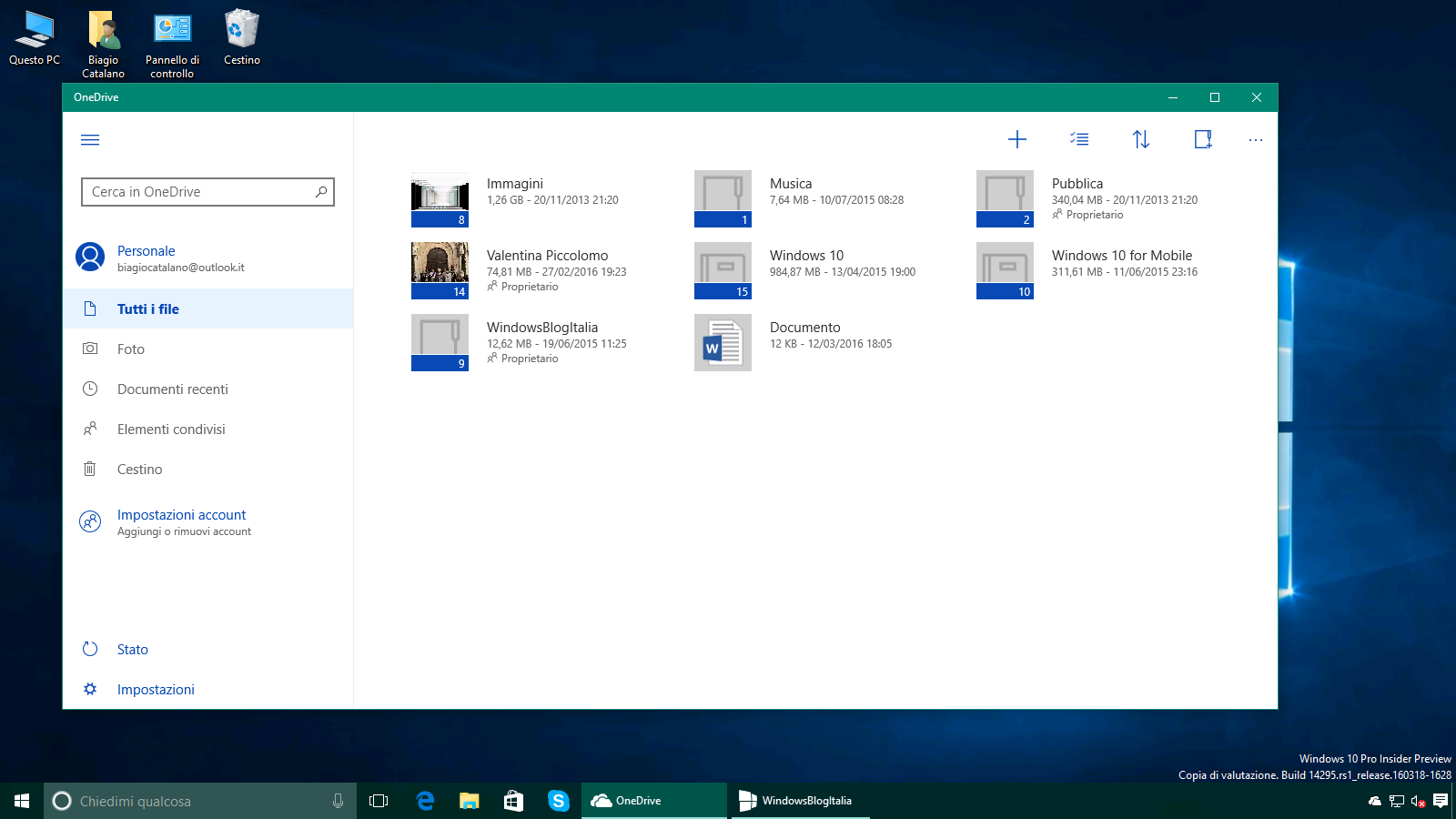 Esclusiva! Download di OneDrive UWP per Windows 10 Onedrive Download