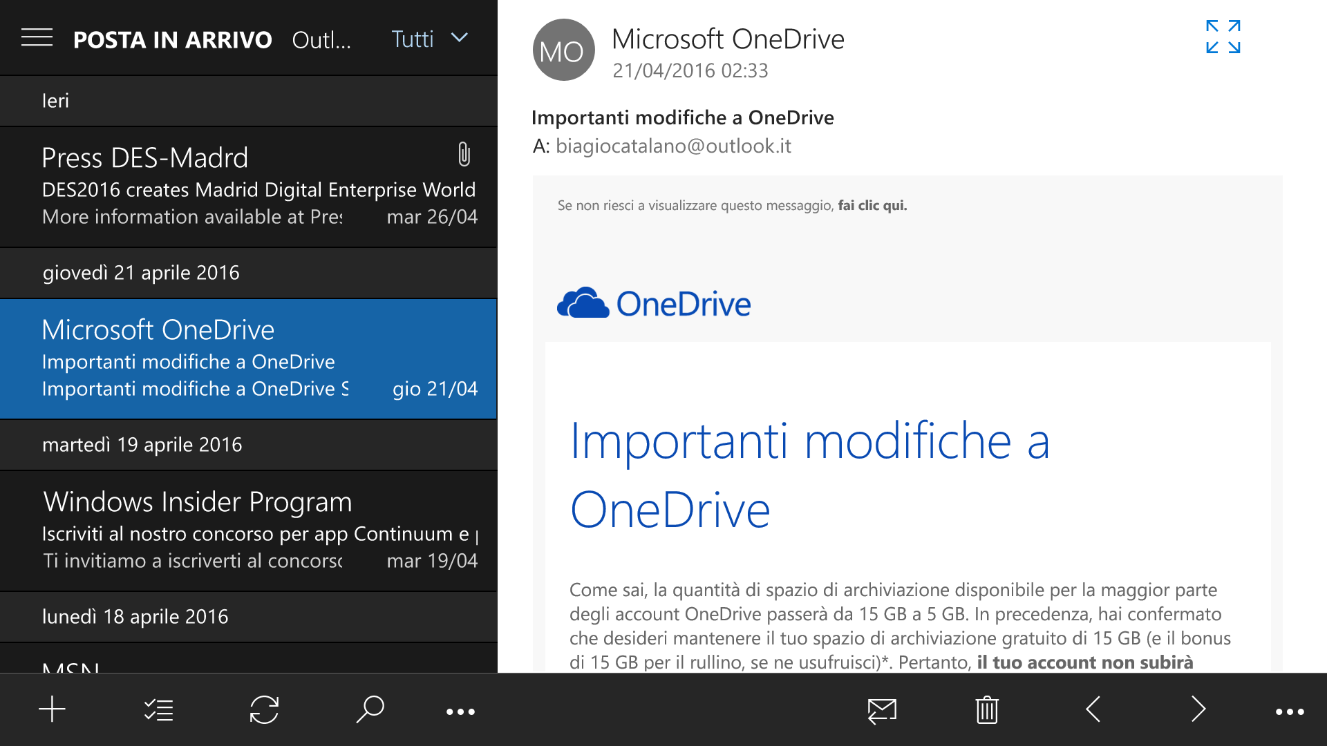 Posta Outlook - Windows 10 Mobile 14332.1001