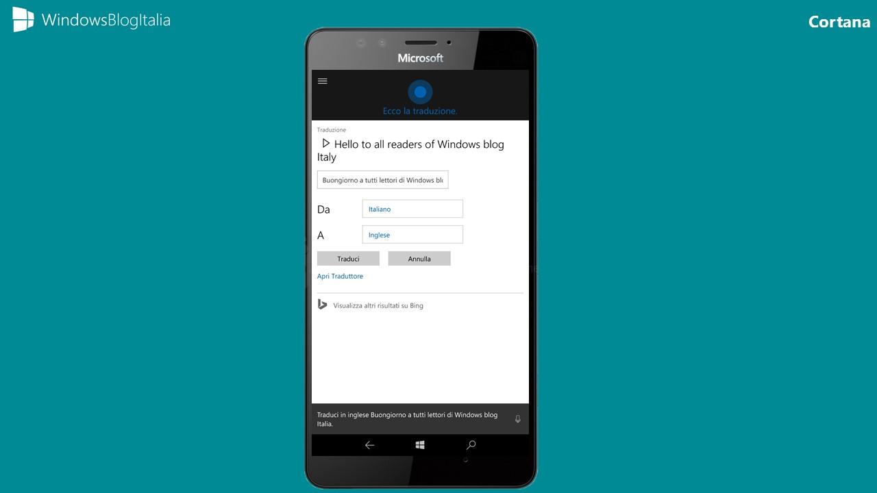 Traduzione simultanea Cortana