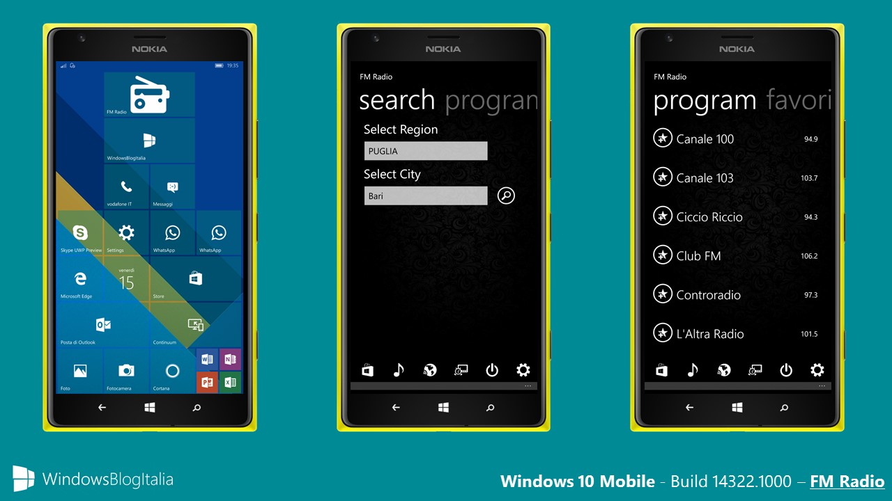 Windows 10 Mobile - 14322.1000 - Radio