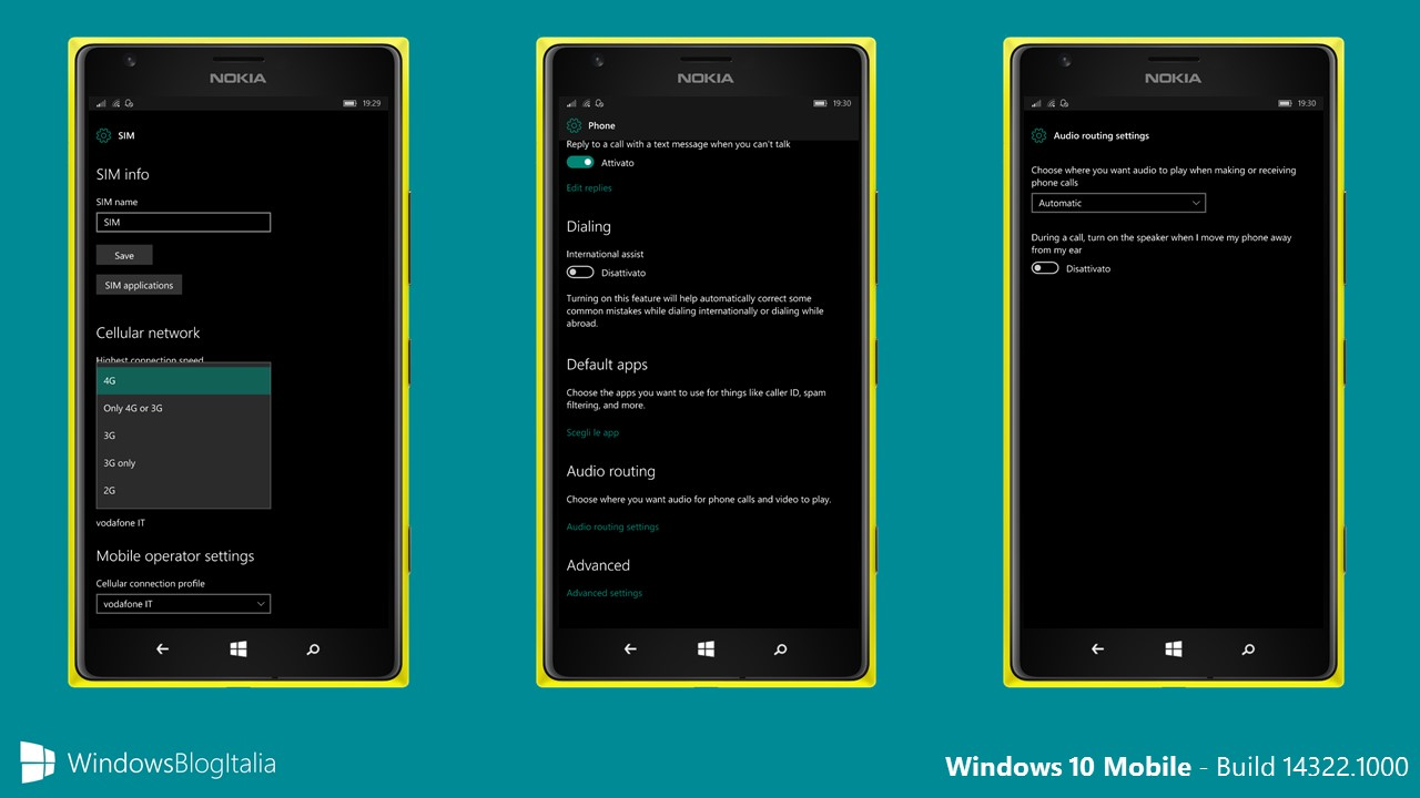 Windows 10 Mobile build 14322 gesture