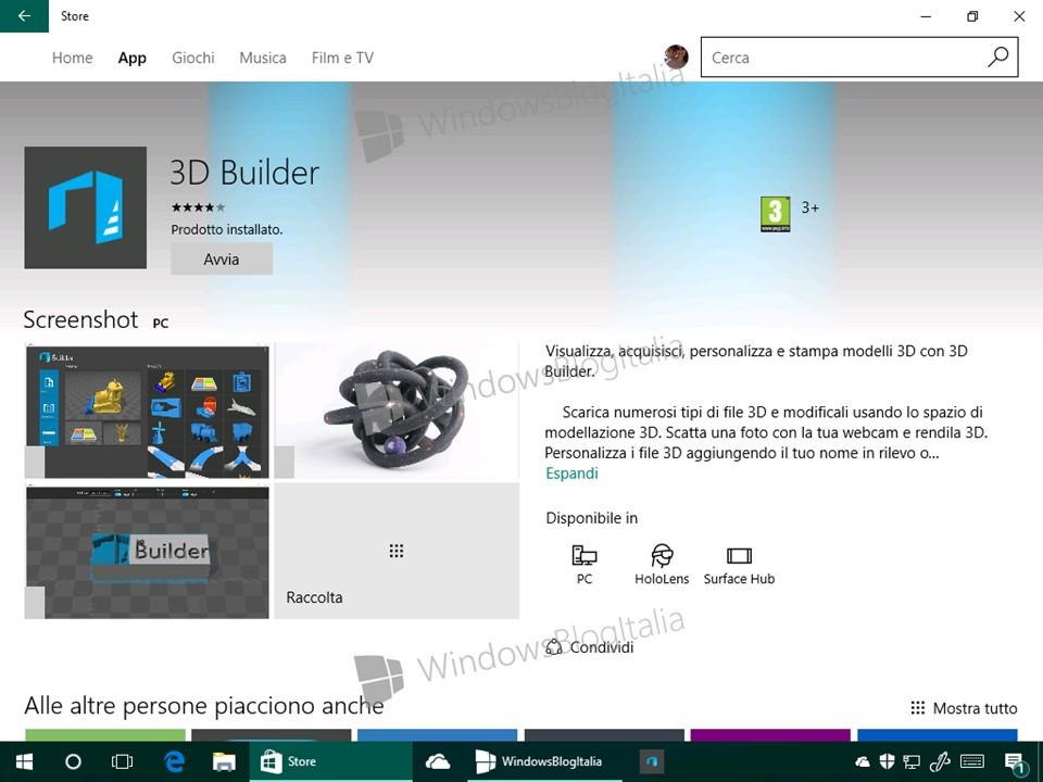 Anteprima Della Nuova App 3d Builder Per Windows 10
