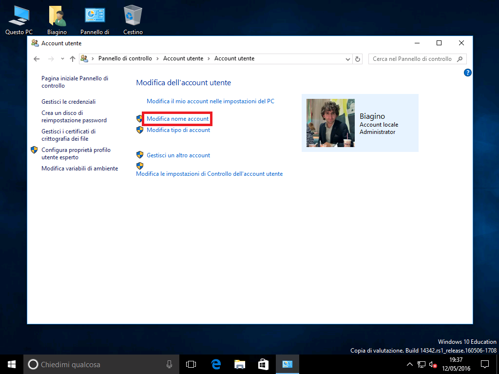 Account locale - Windows 10 - 1