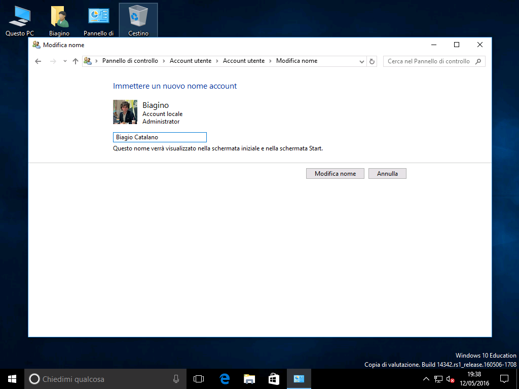 Account locale - Windows 10 - 2