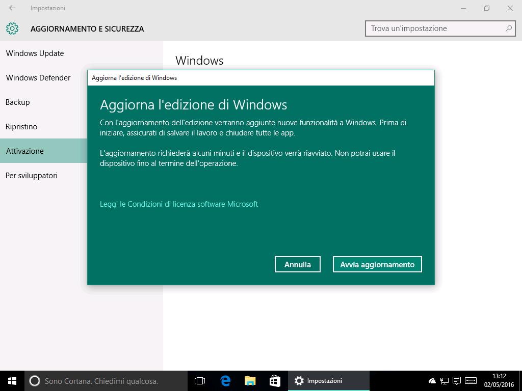 Aggiorna edizione di Windows