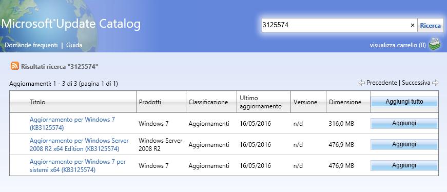 Aggiornamento cumulativo Windows 7 OK