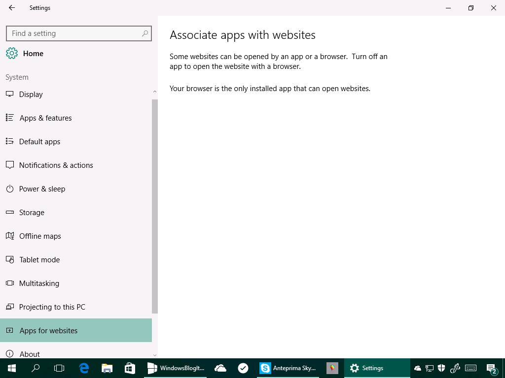 App per siti web - Windows 10 14342