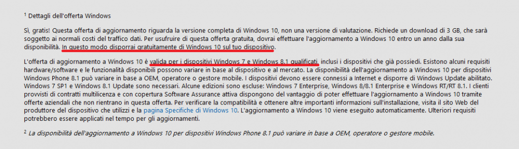 Dettagli offerta aggiornamento a Windows 10 bis