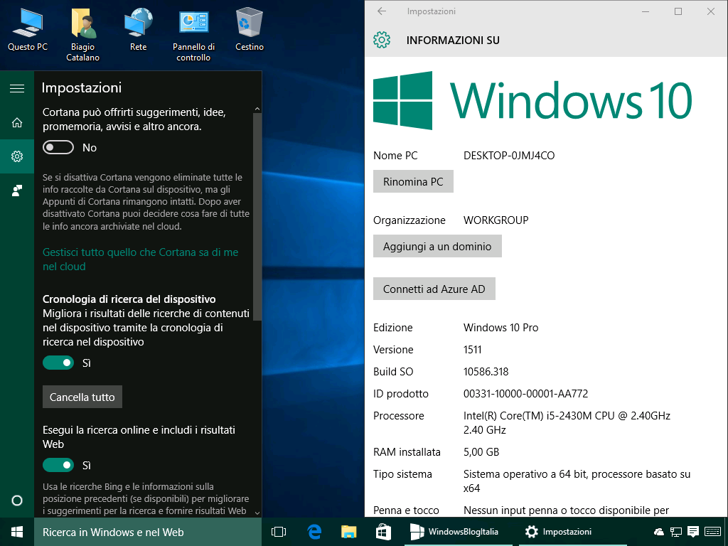 Disattivazione Cortana - Windows 10 build 10586.318