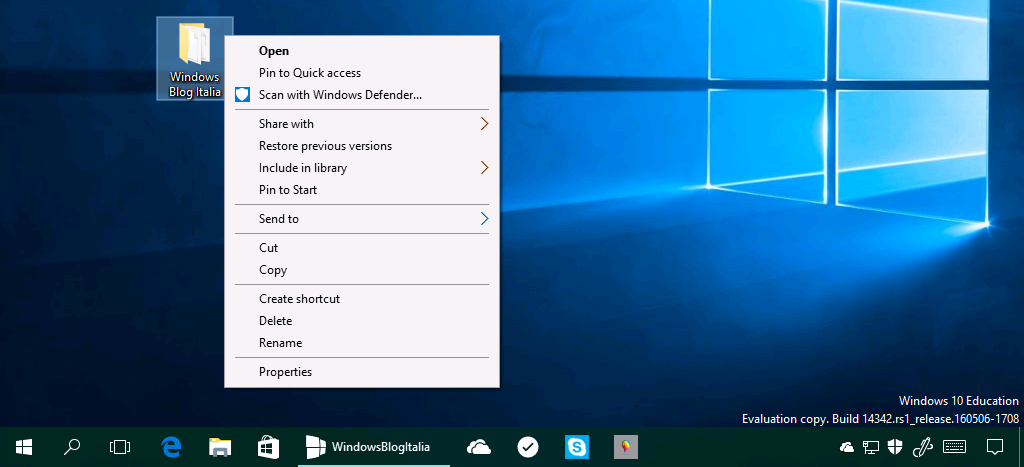 Icona Windows Defender menu contestuale bis