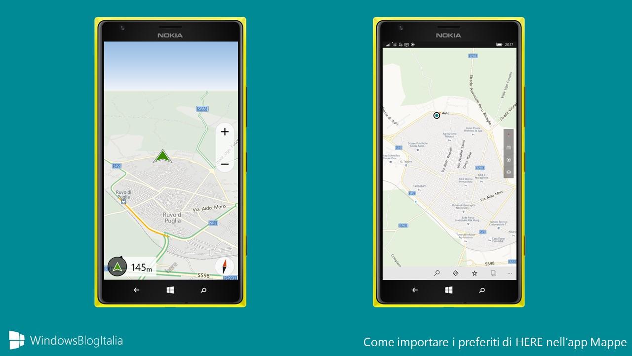 Importare i preferiti di HERE nell'app Mappe
