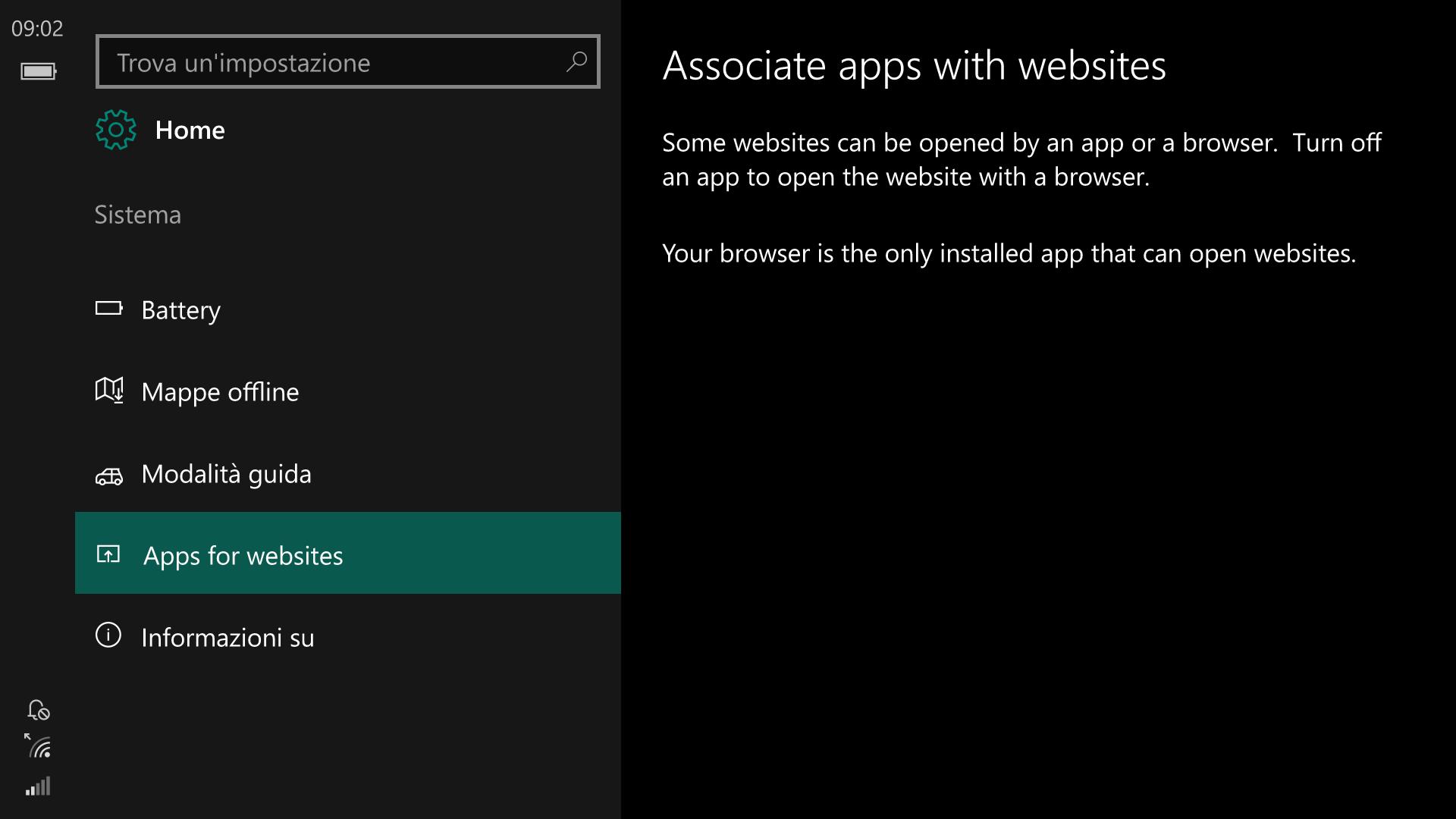 Impostazioni - Windows 10 Mobile 14342 - App per i siti web