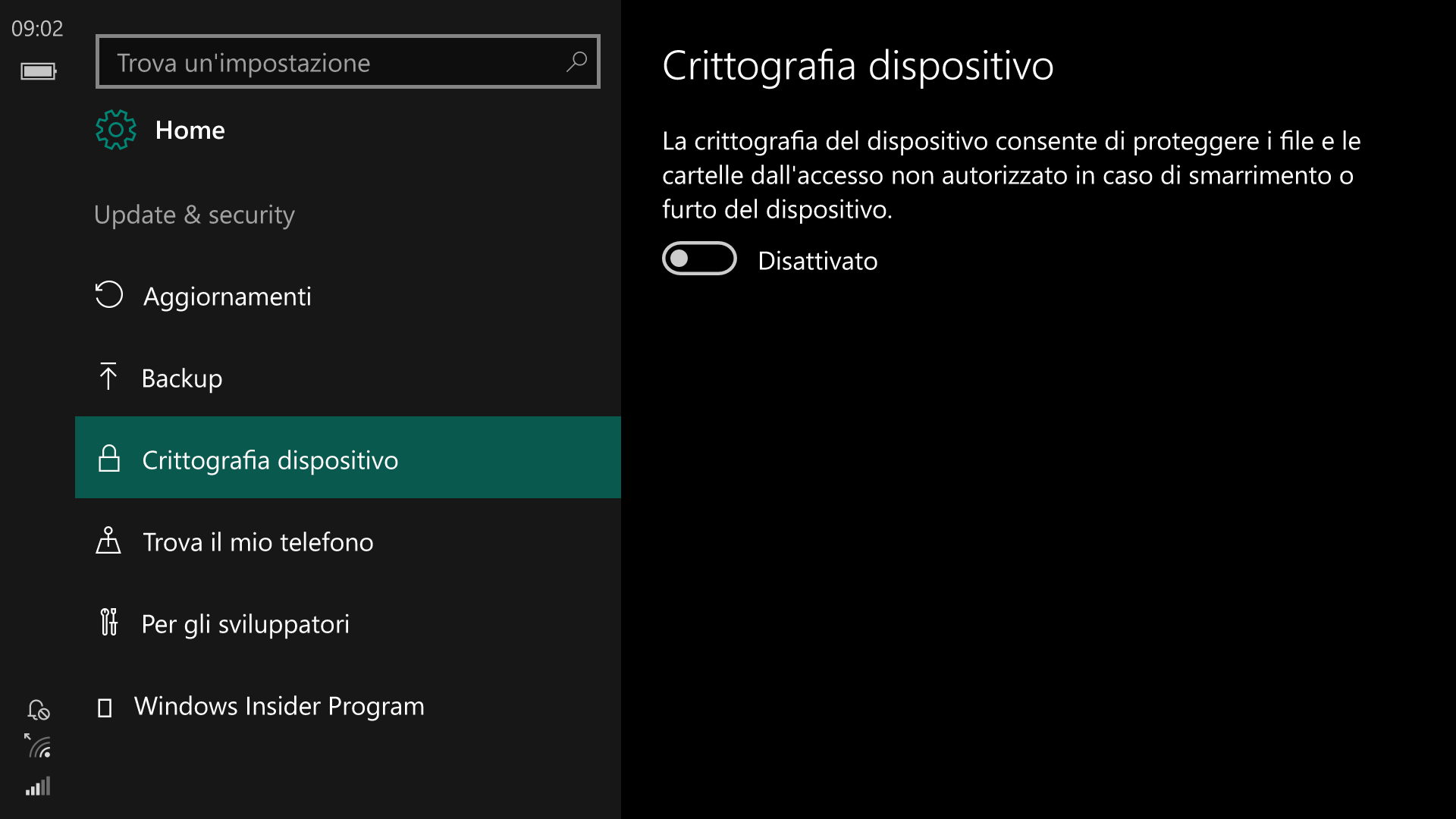 Impostazioni - Windows 10 Mobile 14342 - Crittografia dispositivo