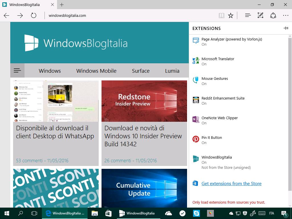 Microsoft Edge - Estensioni - Windows 10 14342