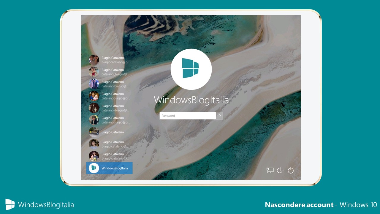 Nascondere account - Windows 10