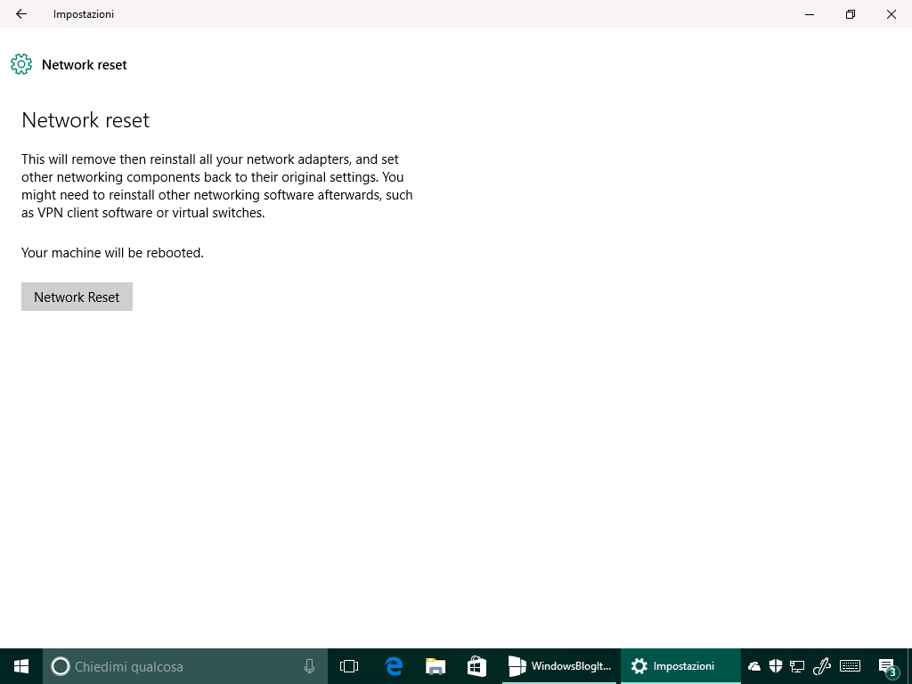 Network reset - Ripristina rete - Windows 10 14342