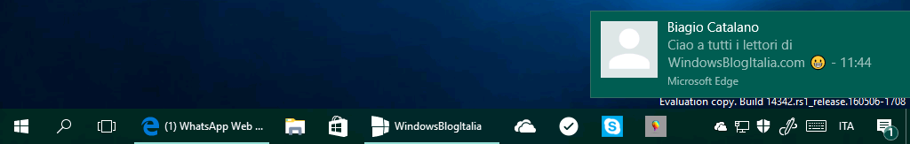 Notifiche Microsoft Edge - WhatsApp - Windows 10 14342 bis