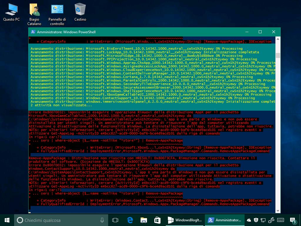 PowerShell - Rimuovere tutte le app dal Windows Store