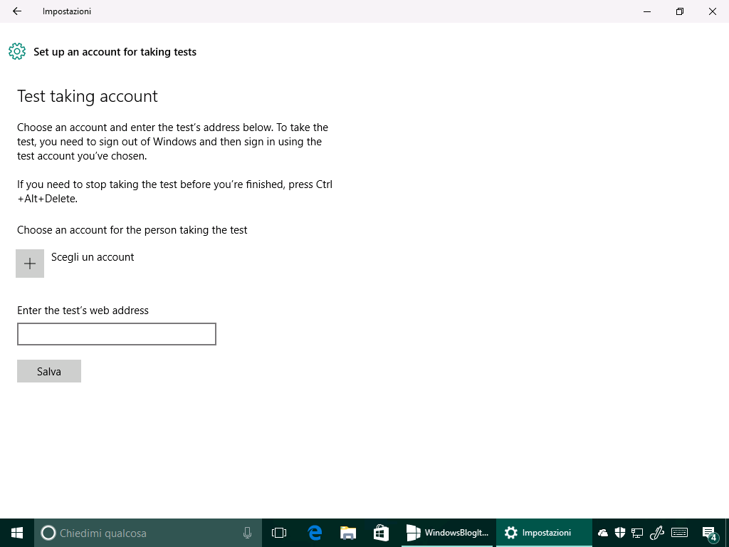 Test taking account - Windows 10 14342