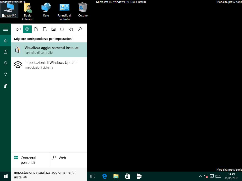 Visualizza aggiornamenti installati - Windows 10 10586.318