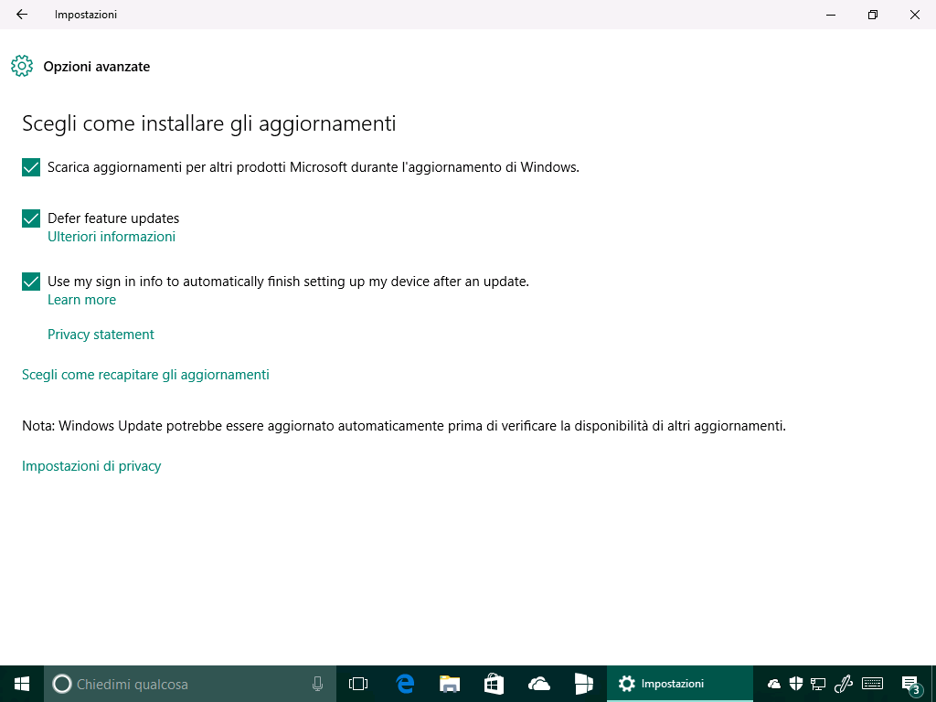 Windows 10 - 14342 - Nuove opzioni in Windows Update