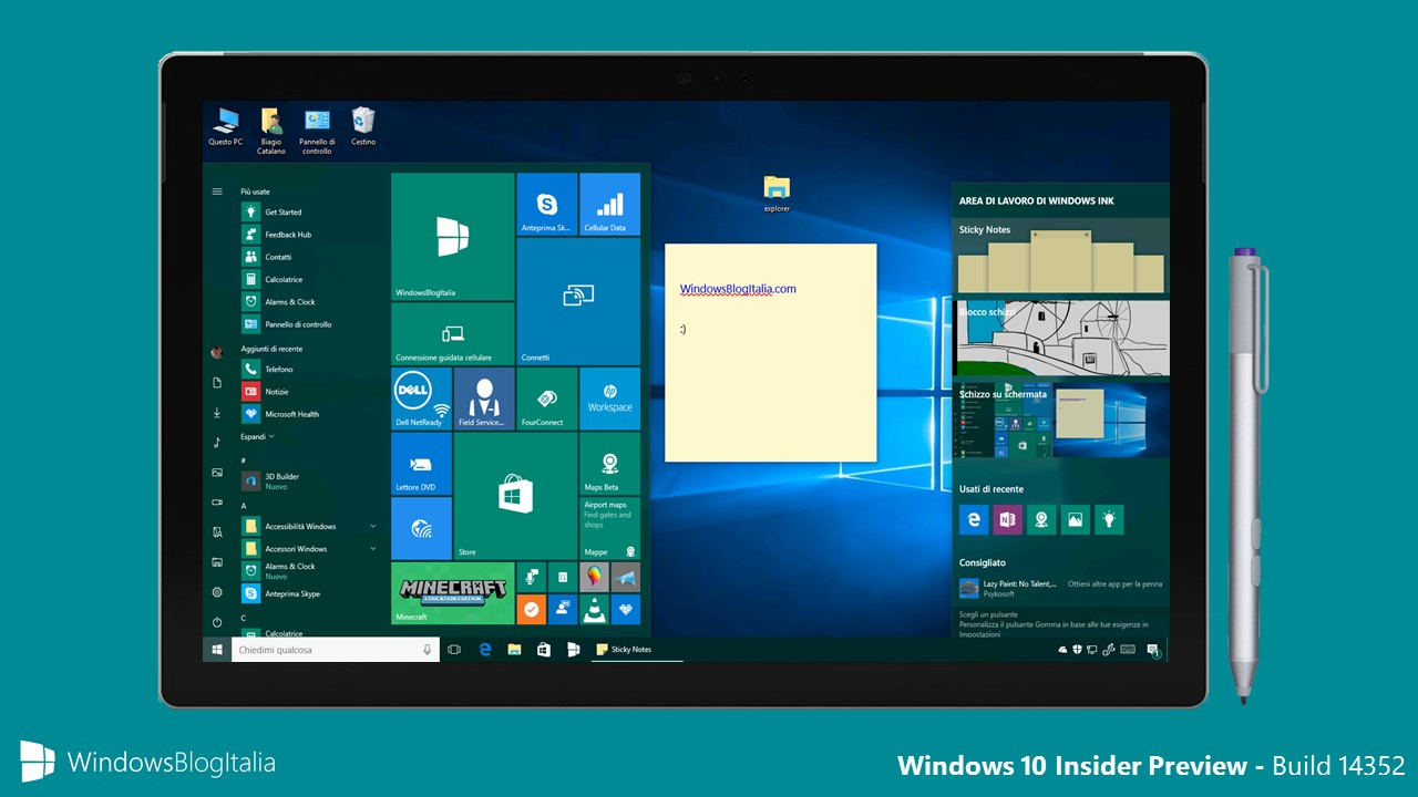Windows 10 Insider Preview Build 14352