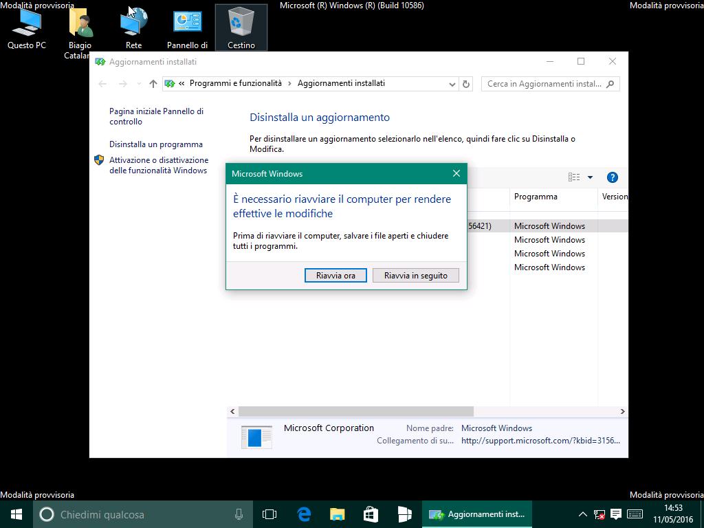 disinstallare aggiornamento KB3156421 - riavviare sistema