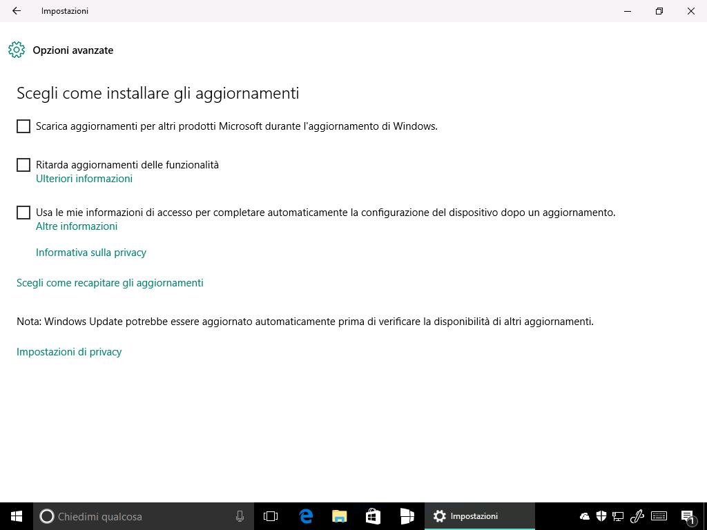 opzione avanzate windows update