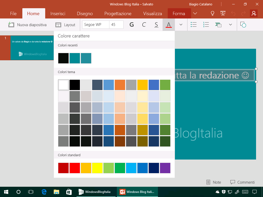 Colore carattere - Office Mobile