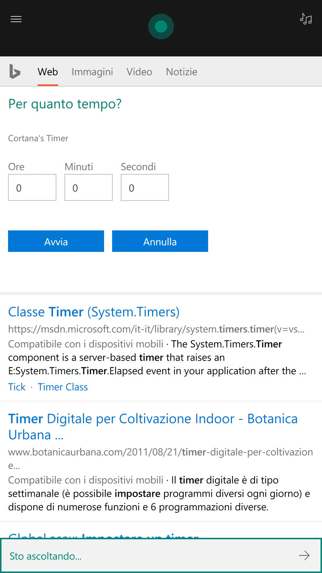 Cortana - imposta timer