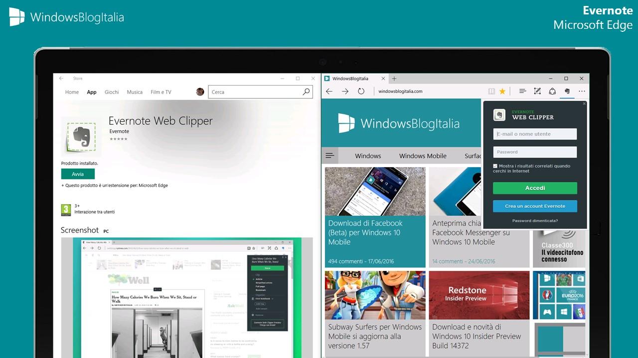 Evernote per Microsoft Edge