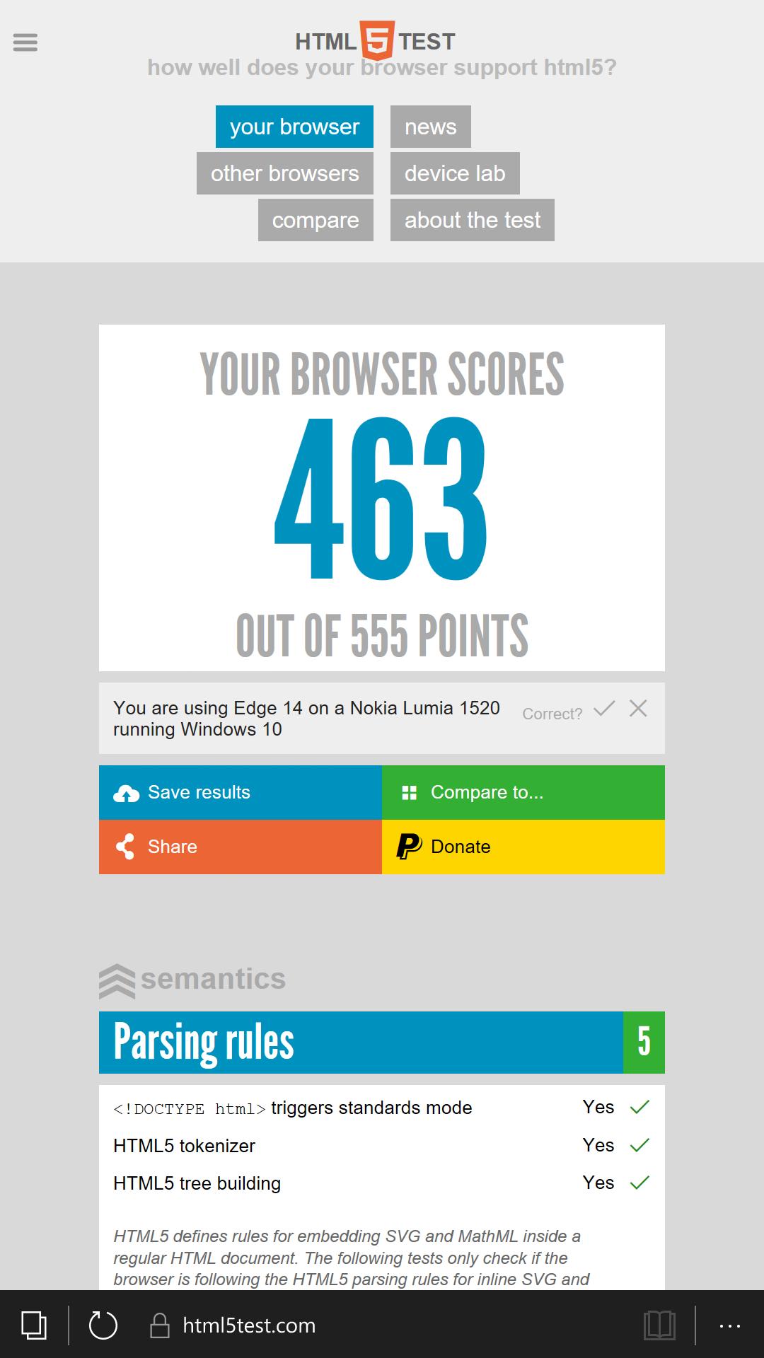 HTML5test Microsoft Edge, W10M