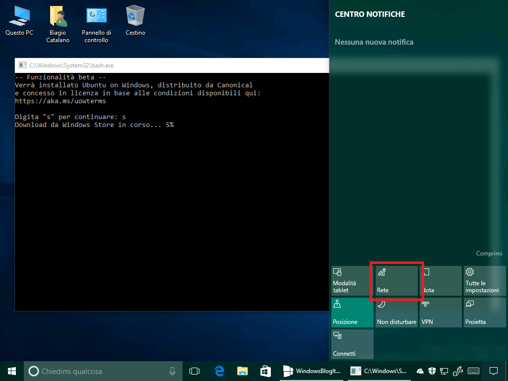 Icona rete + bash - windows 10 14361
