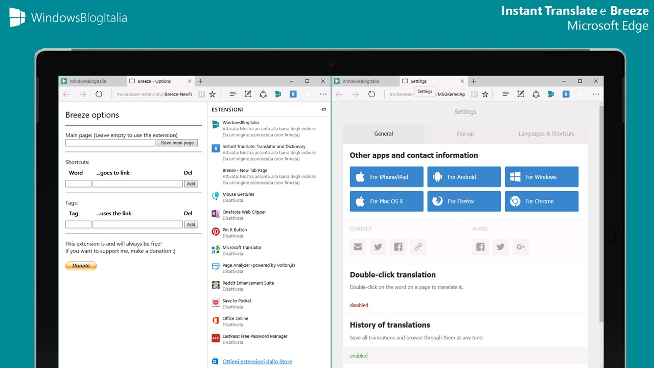 Instant Translate + Breeze - Estensioni Microsoft Edge