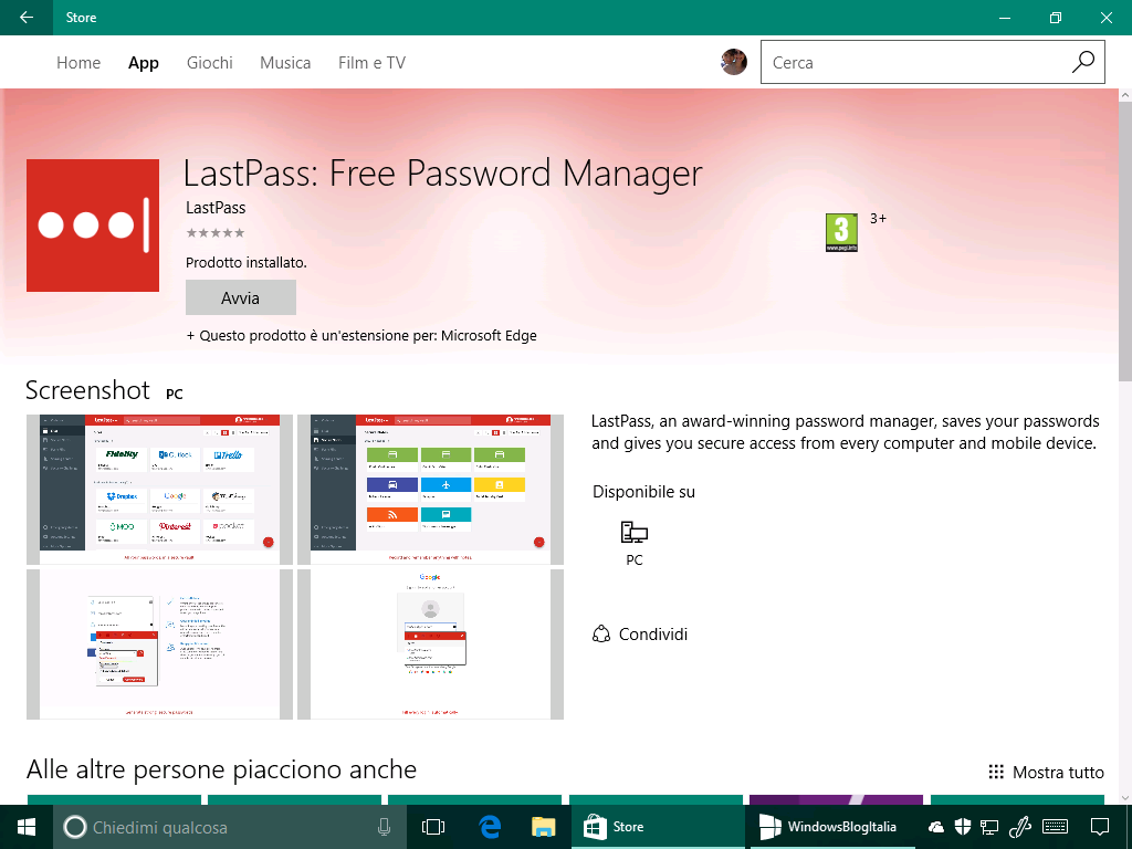LastPass - Microsoft Edge in Windows 10 14361
