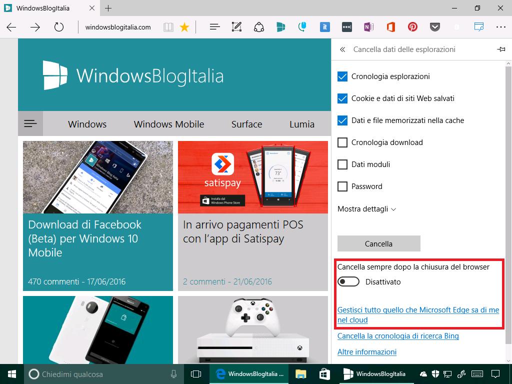 Microsoft Edge - Dati di navigazione + dati cloud