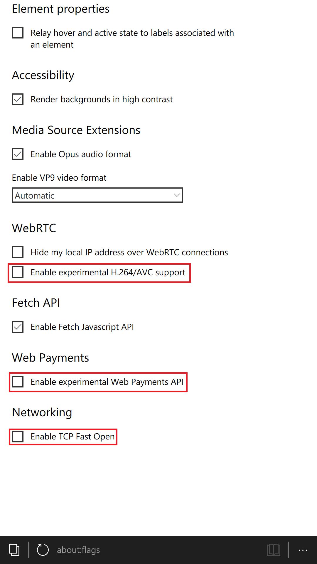 Microsoft Edge - Opzioni sperimentali