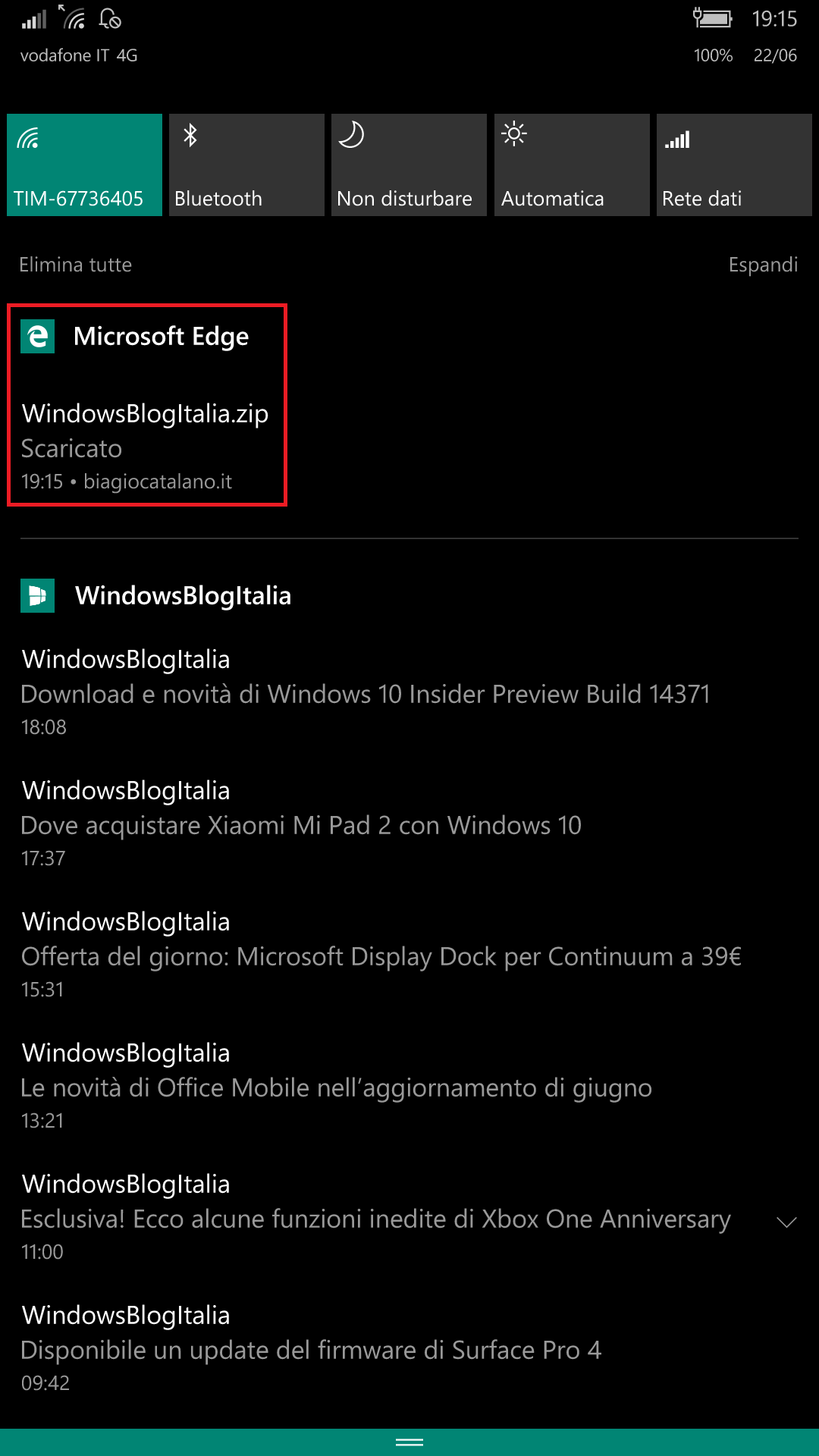 Microsoft Edge - Windows 10 Mobile - download centro notifiche