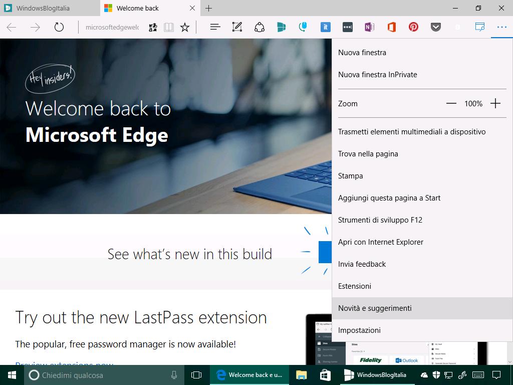 Novita e suggerimenti - Microsoft Edge