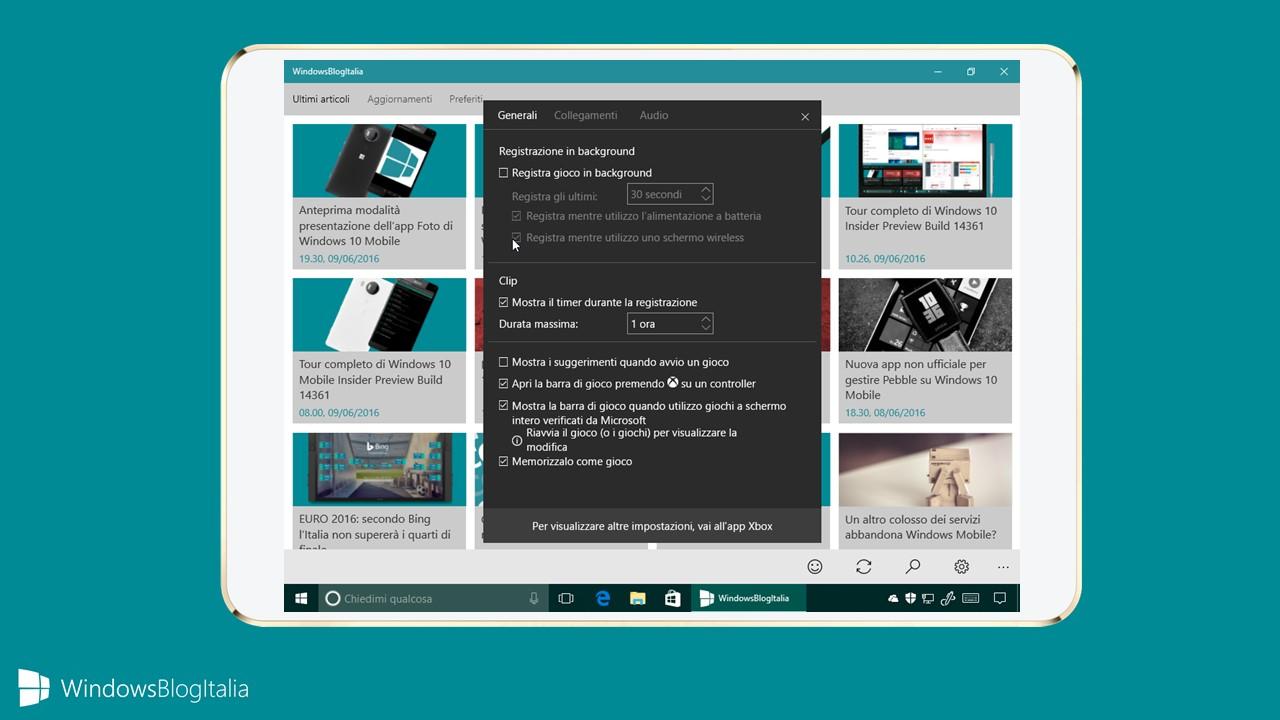 Registrazione schermo, Gamebar, Xbox