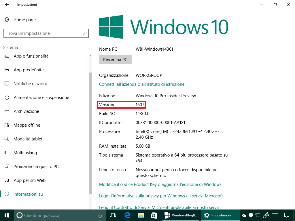 Versione 1607 - Windows 10 14361