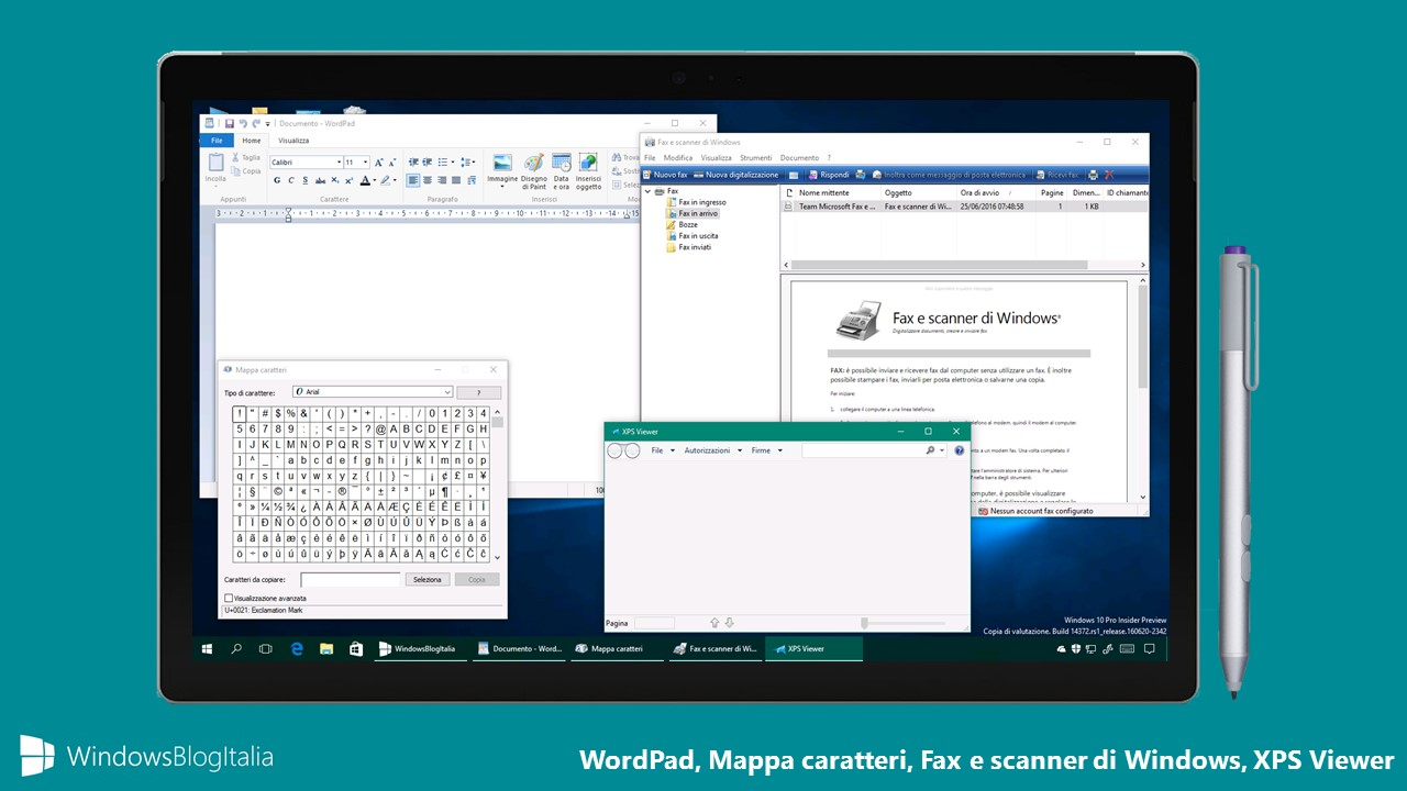 WordPad, Mappa caratteri, Fax e scanner, XPS Viewer - Windows Store e Windows 10