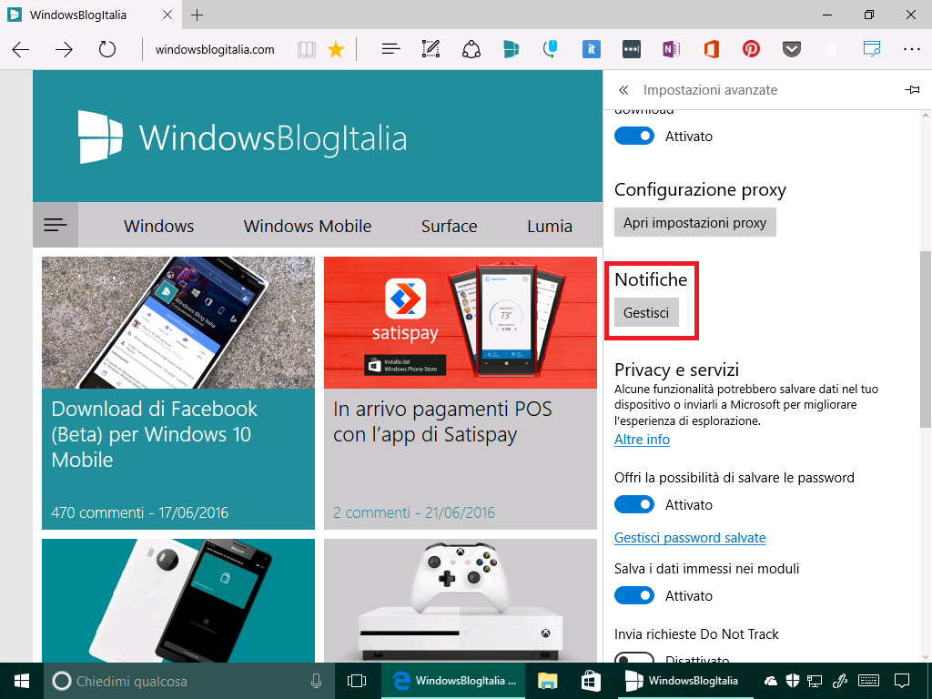 notifiche gestisci - microsoft edge