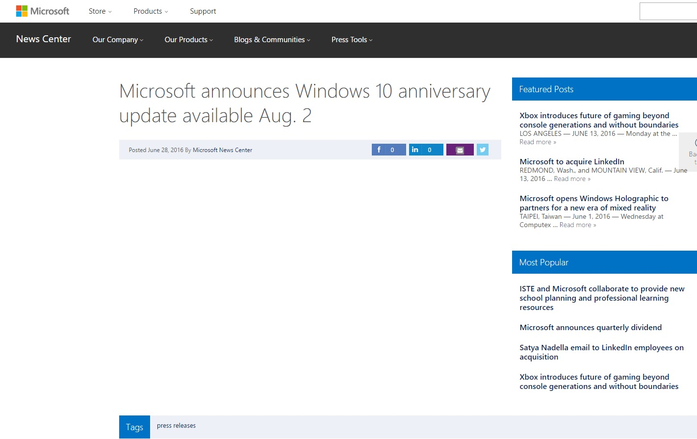 Windows 10 anniversary update per tutti il 2 agosto for Windows 10 update
