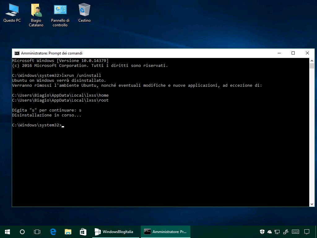 Disinstallazione Bash in Ubuntu