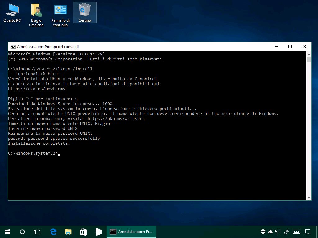 Installare Bash in Ubuntu on Windows