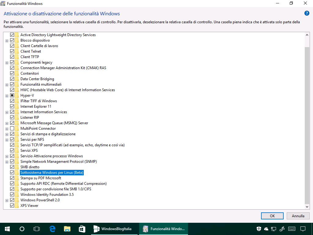 Sottosistema Windows per Linux