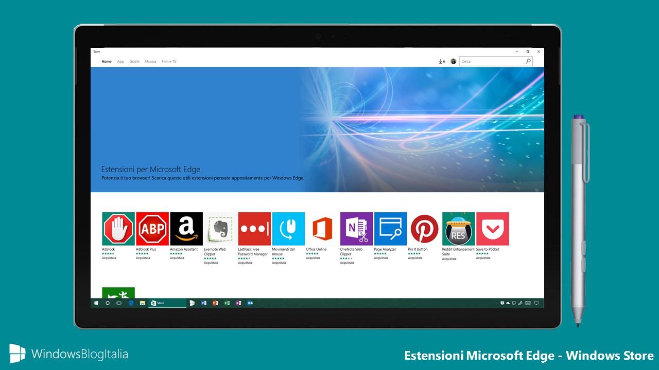 Windows Store - Estensioni Microsoft Edge