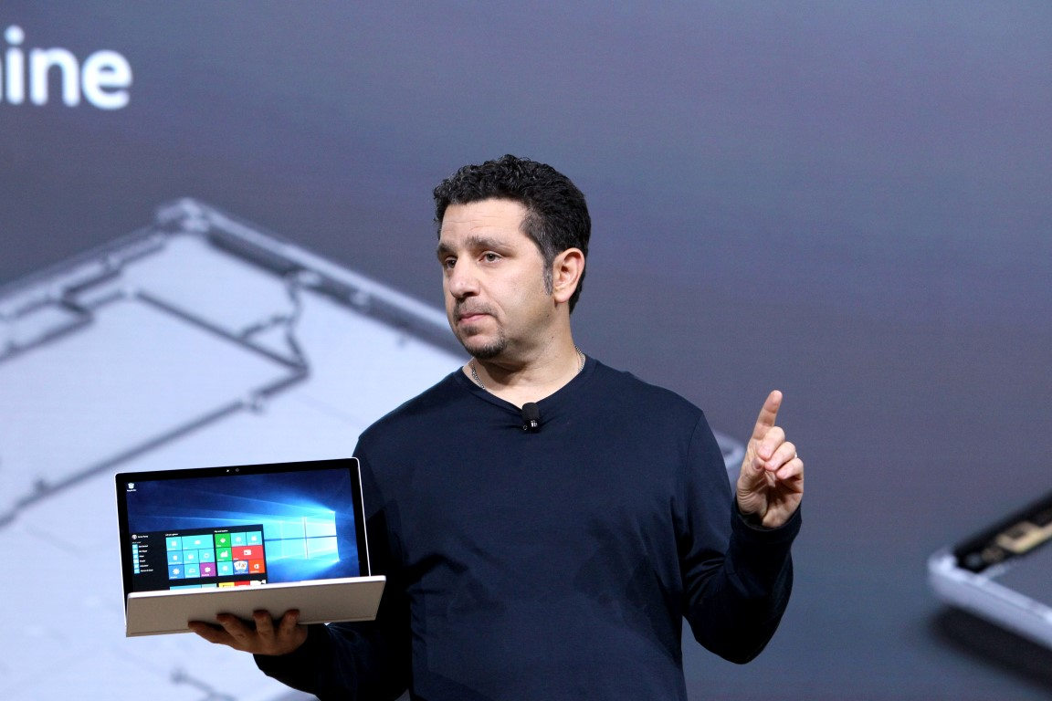 VP of Microsoft Surface Panos Panay speaks on stage at Windows 10 Devices Event, on Tuesday, October 6, 2015 in New York, New York. (Mark Von Holden/AP Images for AP Images for Windows)